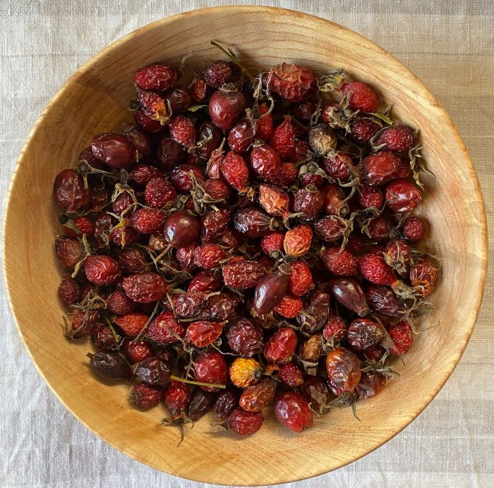 Dried rosehips for making rosehip tea.