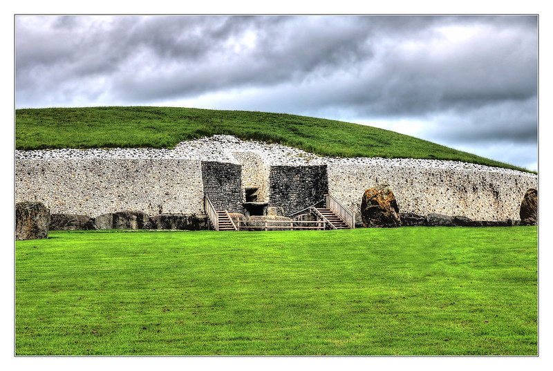 The entrance of Newgrange monument aligned with the rising sun on the winter solstice