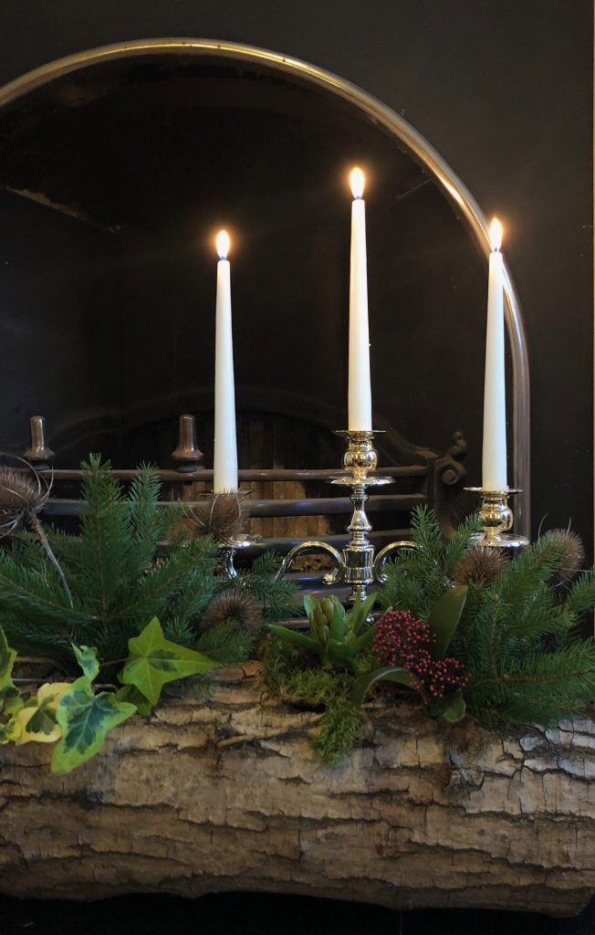 Yule log decoration at Christmas. Yule was a winter solstice holiday in Scandinavia.