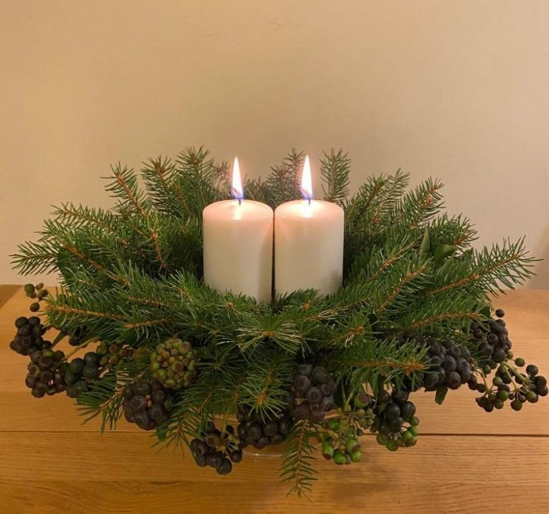 Natural Decoration for Home: a Table Centerpiece with Candles and Greenery